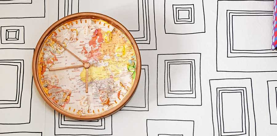 Fun And Easy IKEA Clock Hack With A World Map - Pillar Box Blue