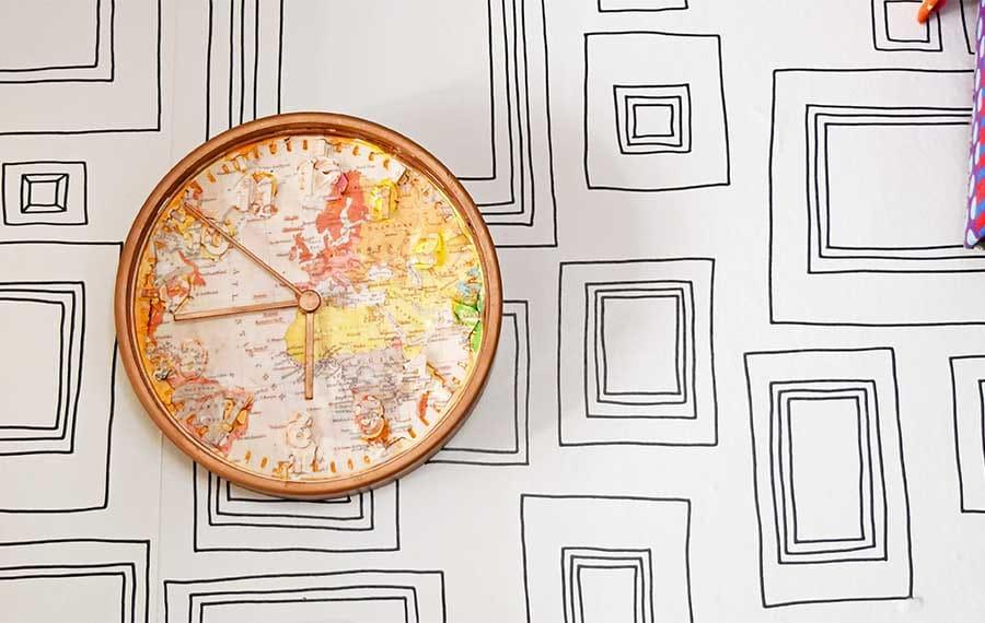 Ikea map wall clock hack