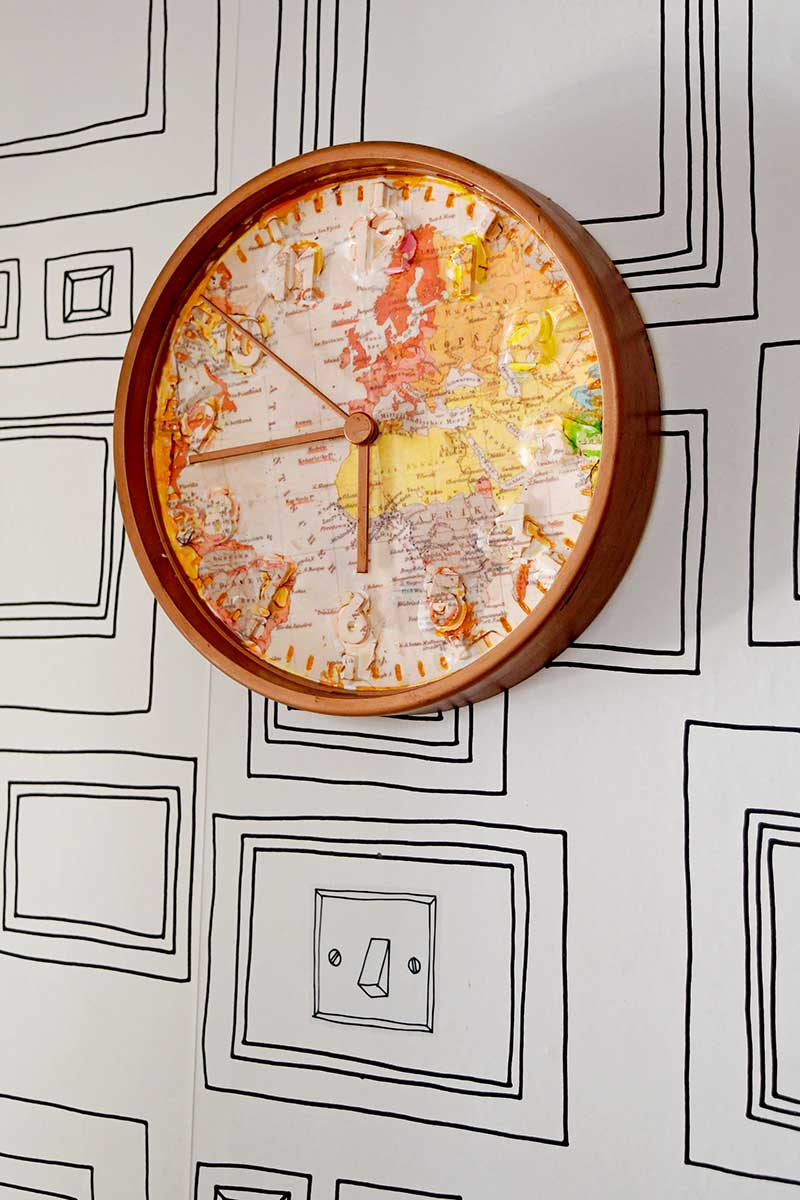World map wall Ikea clock hack