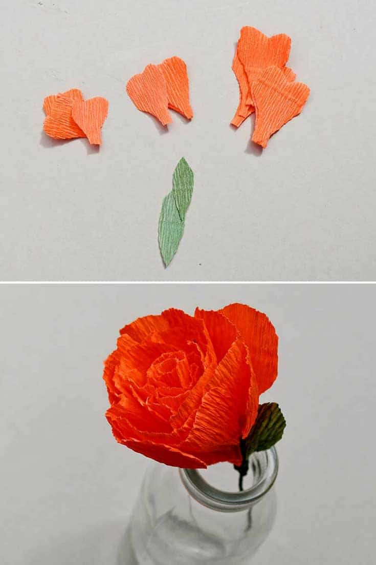 Crepe paper rose flower decoration