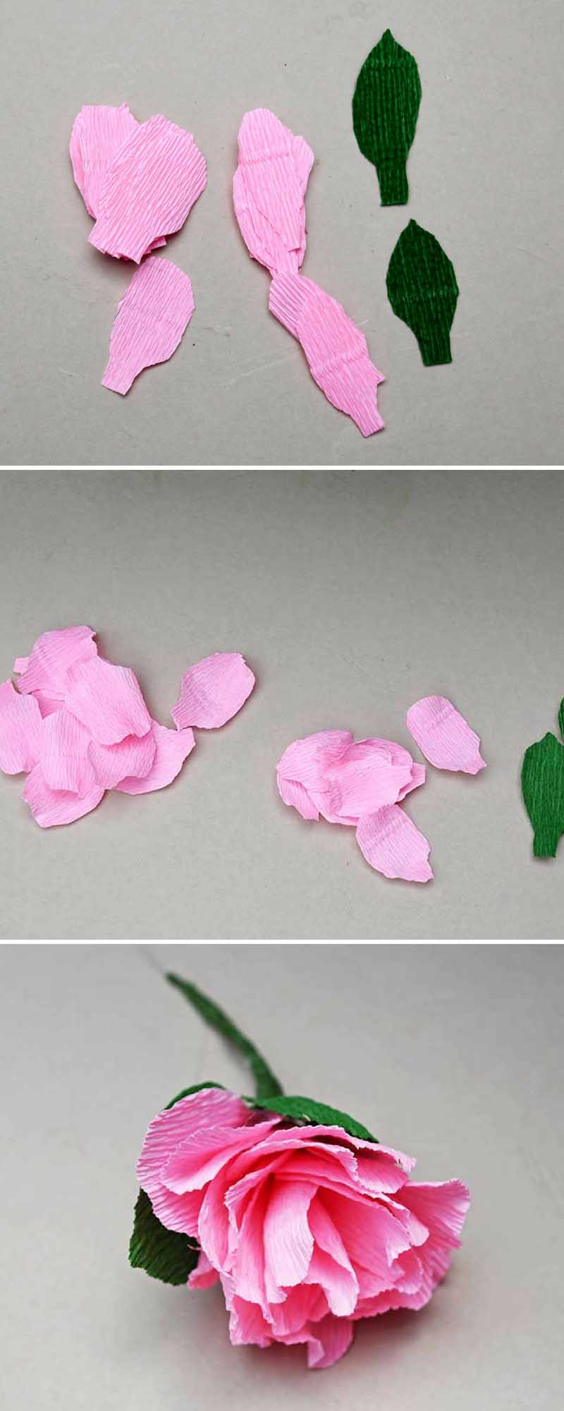 Making pink peonies for paper flower wall decoration