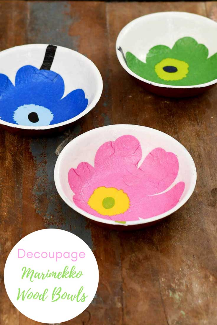 Marimekko Unikko decoupage on wood bowl