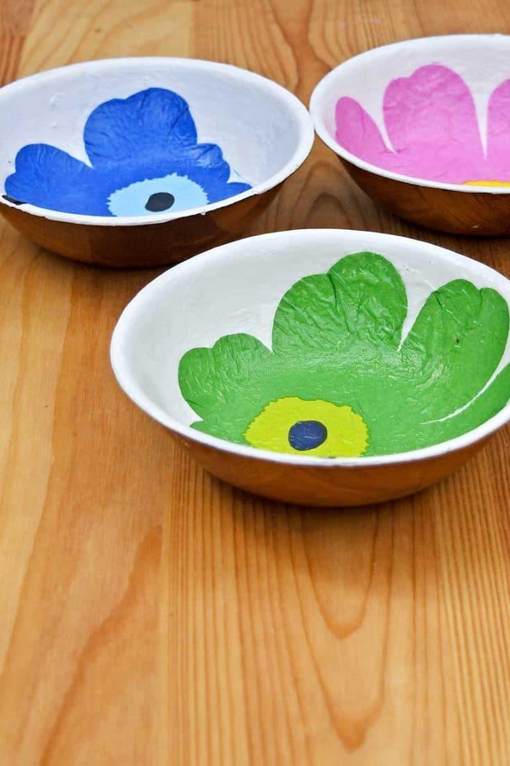 Easy Marimekko Decoupage on Wood Bowls