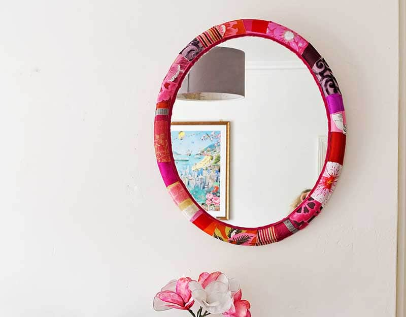 Patchwork upcycled mod podge fabric mirror frame