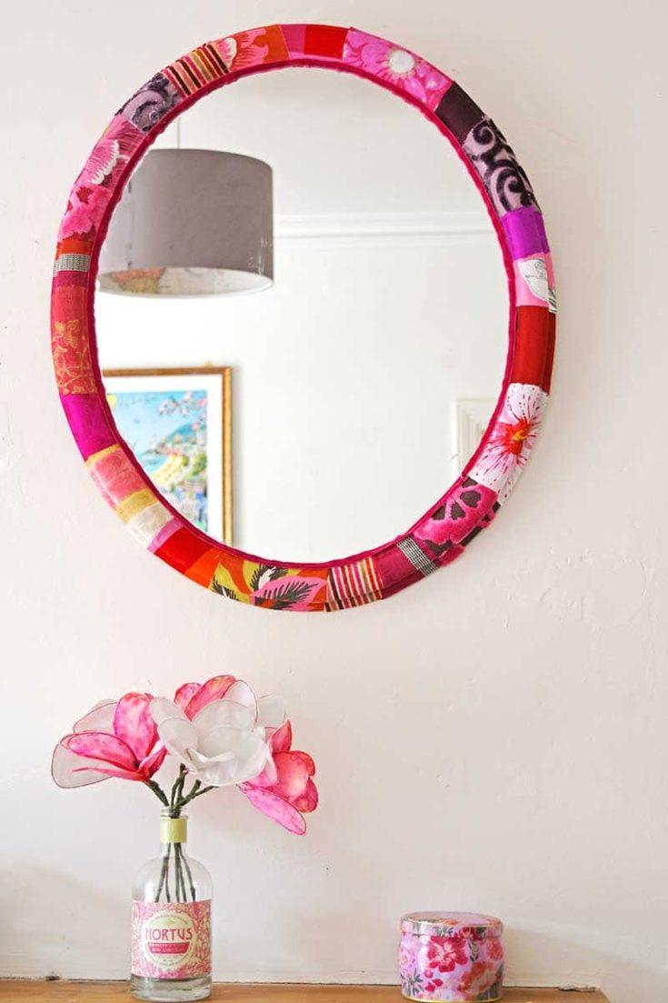 Mod Podge fabric Mirror frame & fabric flowers