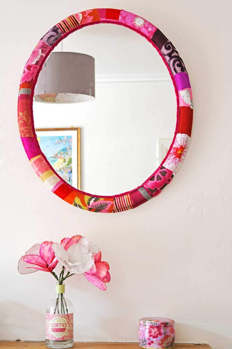 Mod Podge fabric Mirror frame & fabric flowers