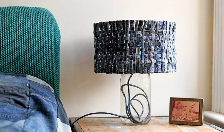 How To Make a Unique Table Lamp With A Denim Lampshade