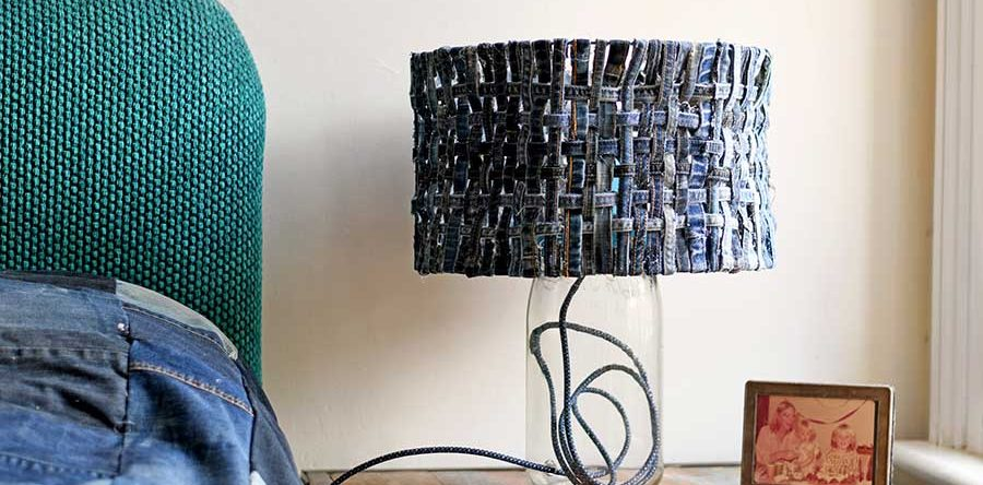 How to make a unique table lamp with a denim lampshade pillar box blue how to make a unique table lamp with a denim lampshade greentooth Choice Image