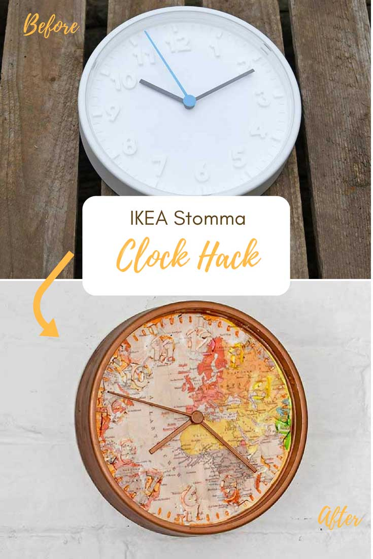 Map decoupage an IKEA hack with clocks