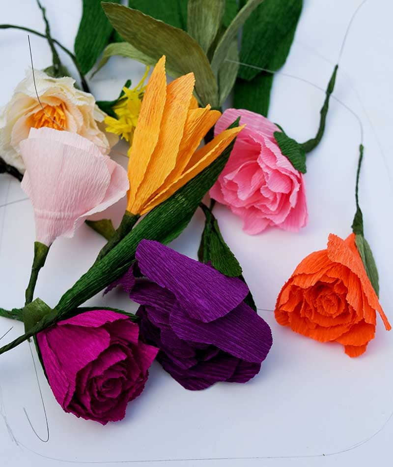 Assorted crepe paper flowers.