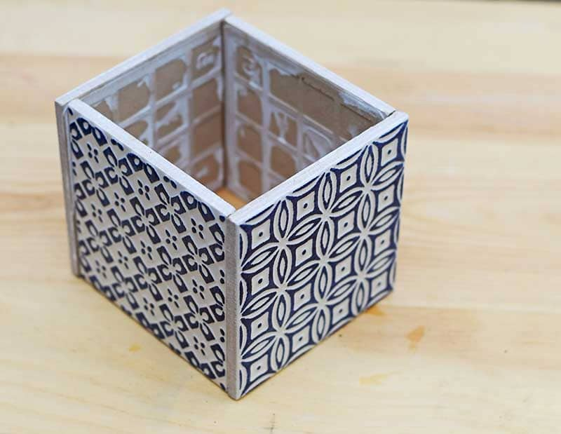 Blue Moroccan tiled cube