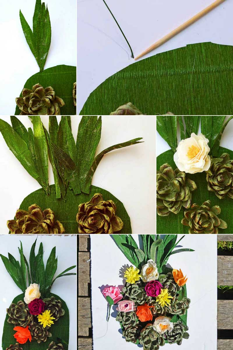 how to make a flower wall decoration pineapple