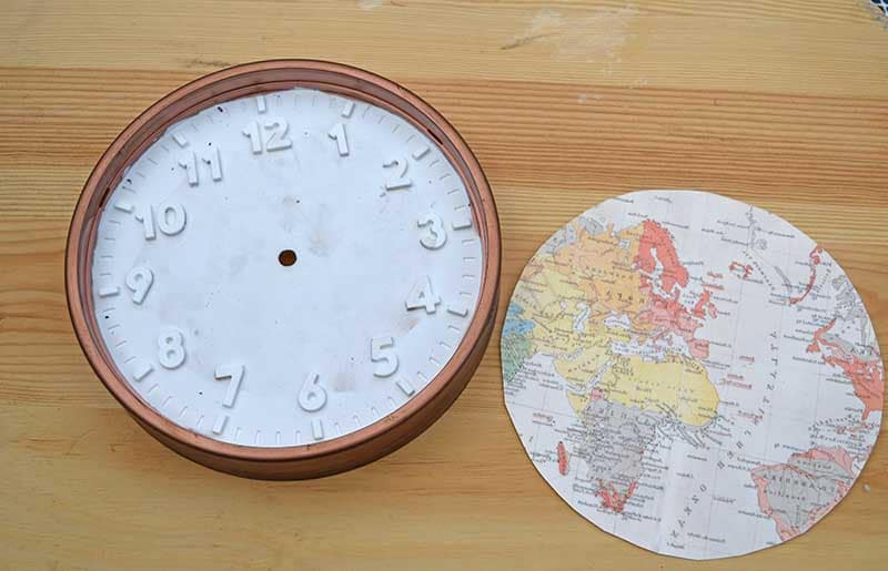 Cutting map clock face to size