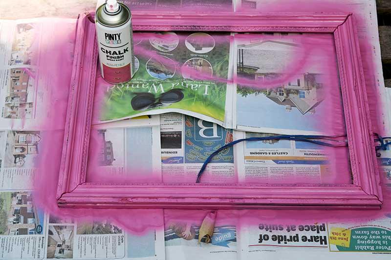 Chalk spray painted frame