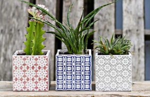 Tiled square Boho Moroccan planters