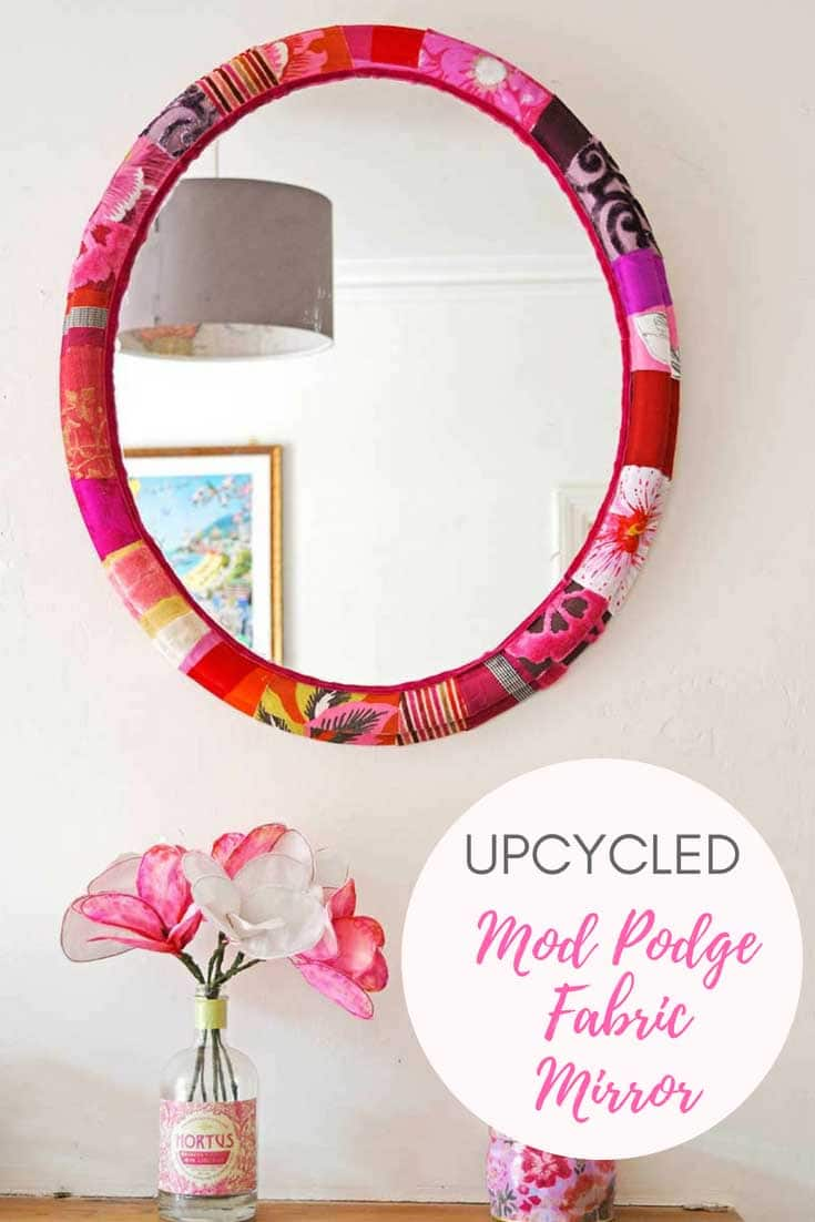 Mod Podge fabric Mirror frame