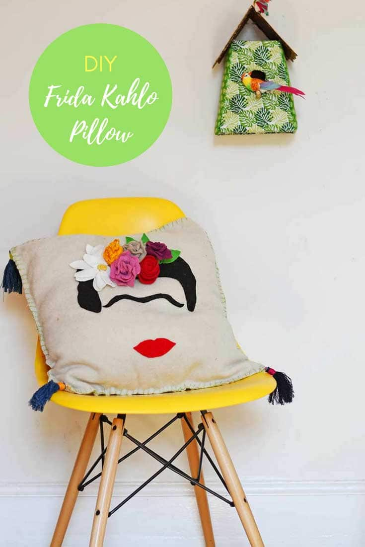DIY frida Kahlo cushion with felt flowers