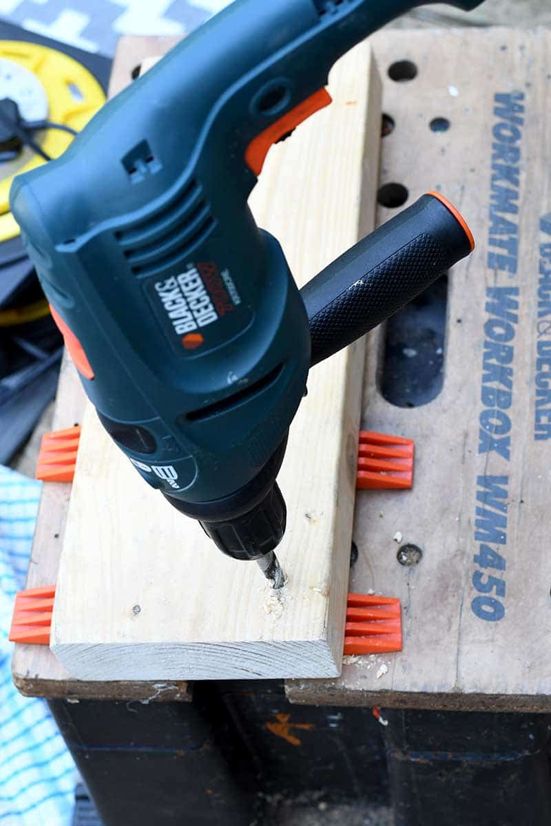 Drilling wood plank