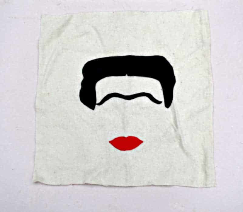 Frida Kahlo felt template on cushion cover