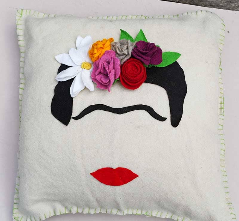 Frida Kahlo Felt Flower pillow blanket stitch