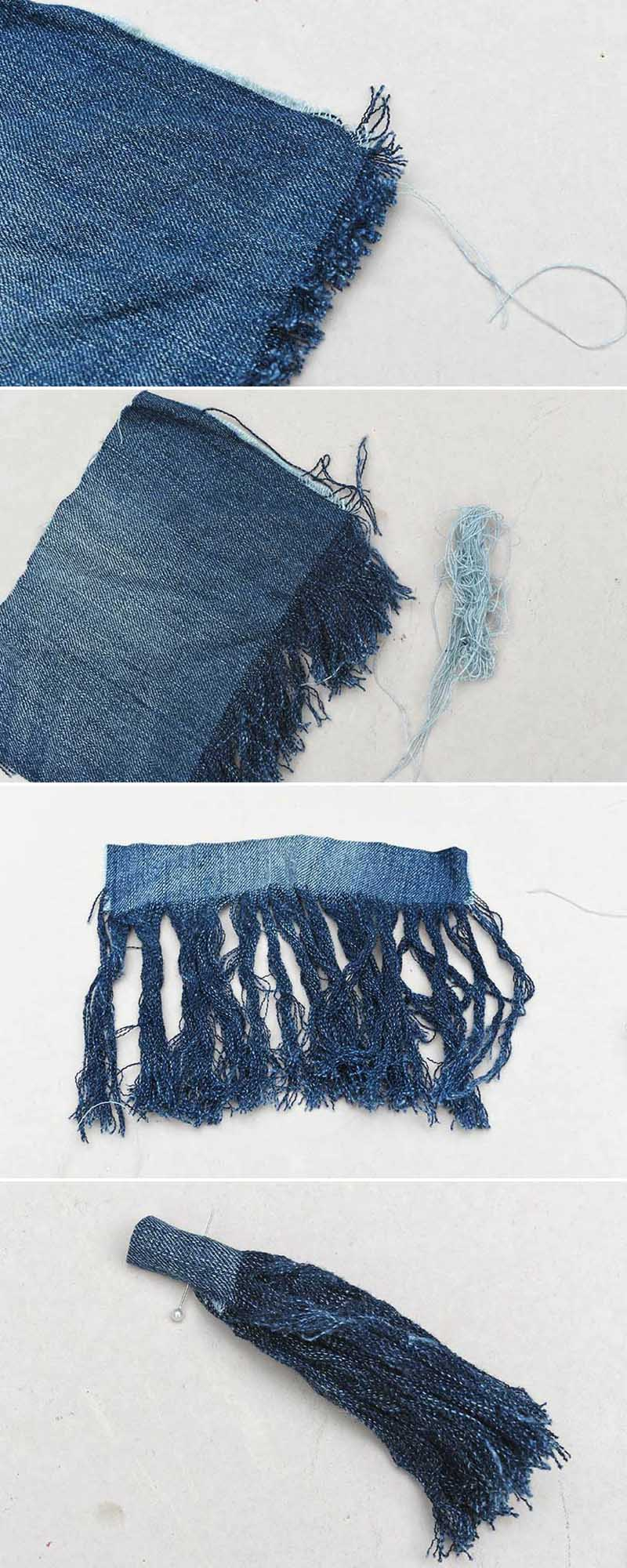 How to make tassels from old jeans