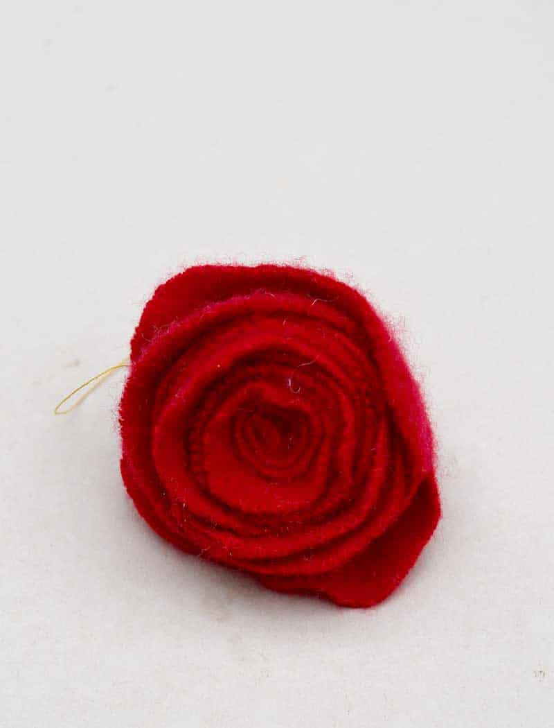 Repurposed sweater felt rolled rose