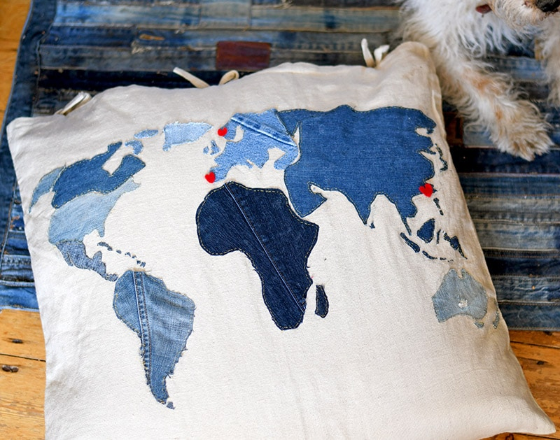 applique denim world map pillow