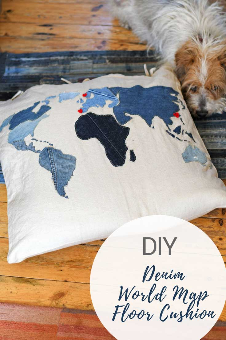 Diy world map denim floor cushion