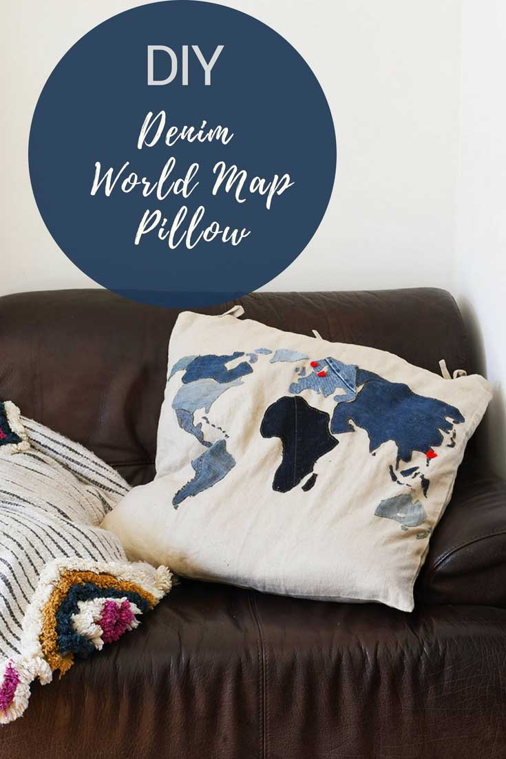 applique world map denim floor cushion