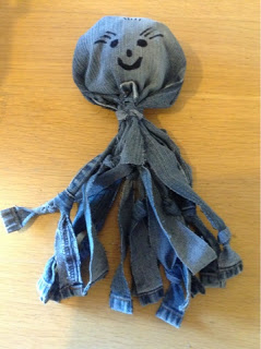 Denim dog accessory toy