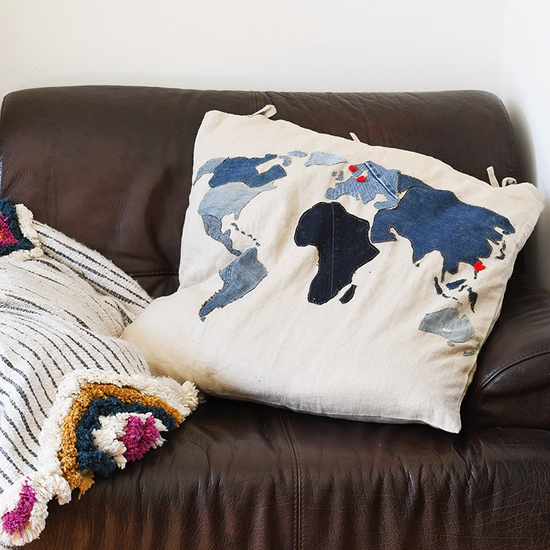 Free pattern for an extra large applique world  map denim pillow