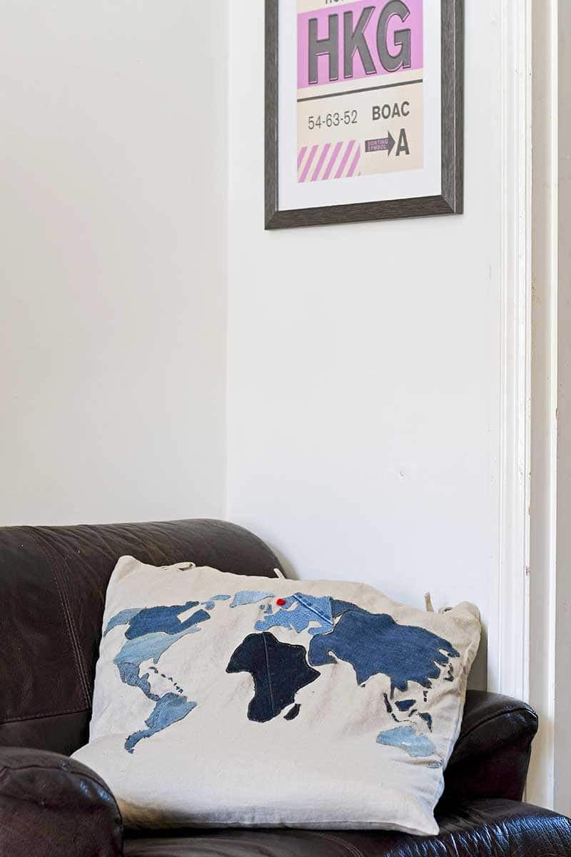 Denim world map floor cushion diy free pattern
