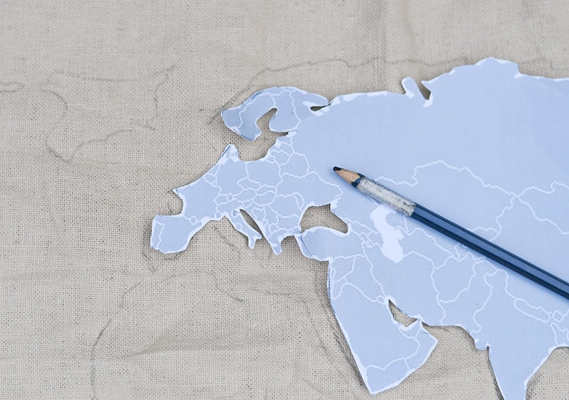 Drawing world map cushion cover