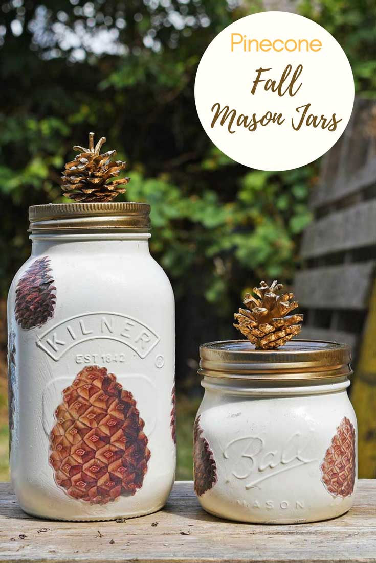 fall mason jar decoration with pine cones pin