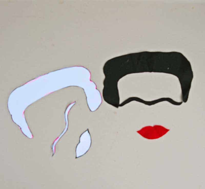 Cutting out the Frida Kahlo hair brow and lips
