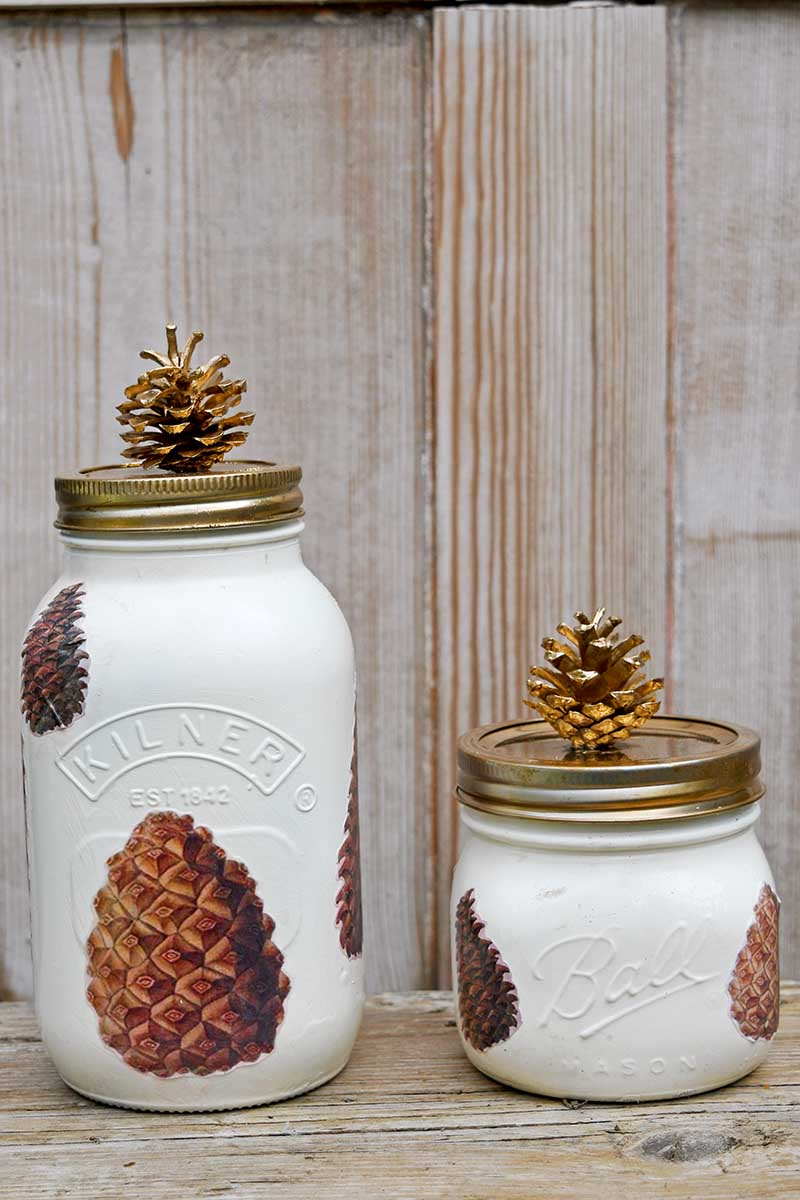 Pinecone fall Mason jar