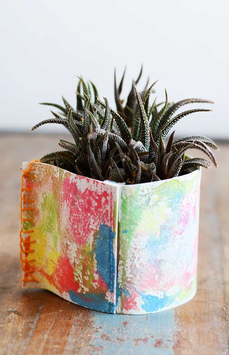 Upcycled rainbow leather planter