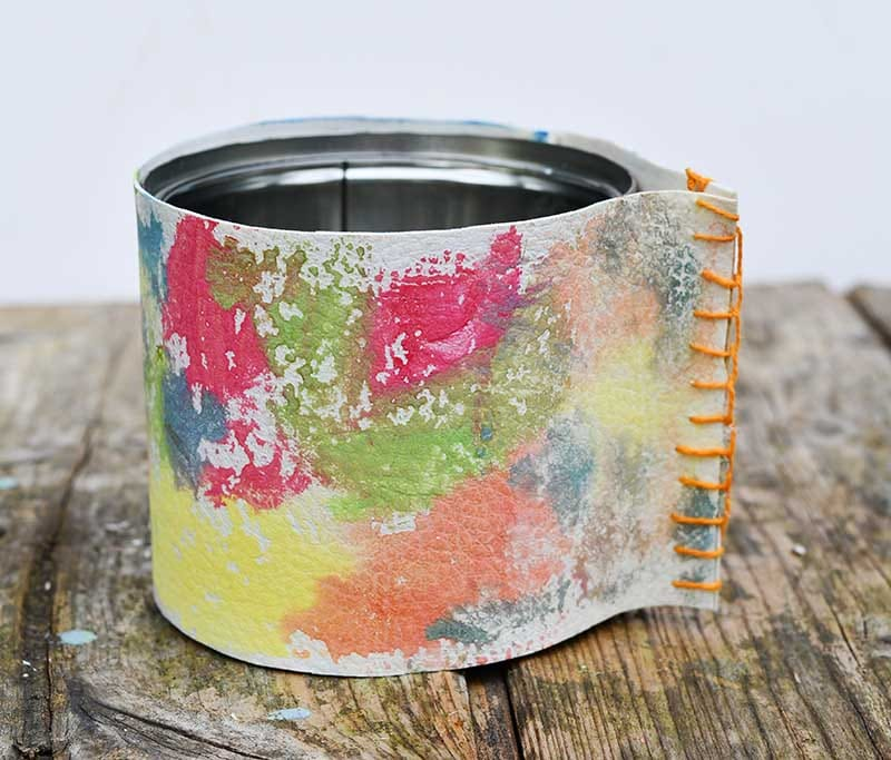 upcycled rainbow leather pot
