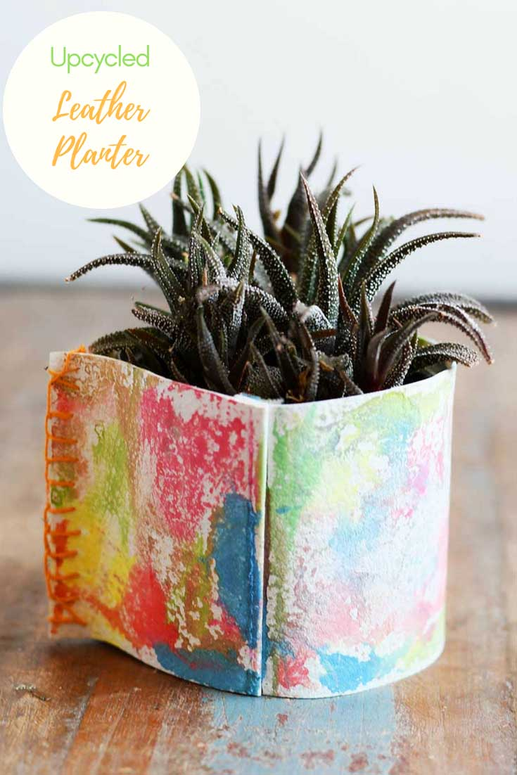 upcycled leather planter