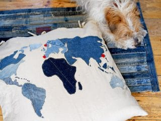 DIY world map floor cushion