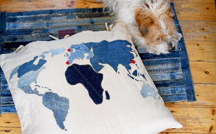 How To Make A Cool World Map Denim Floor Cushion
