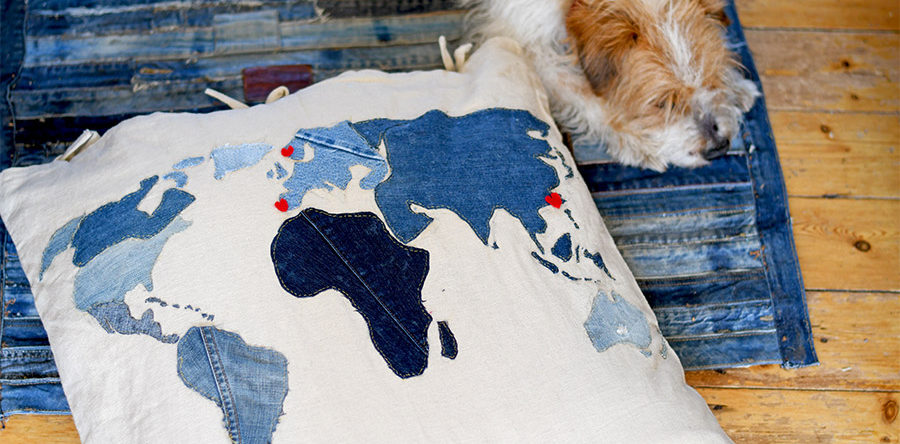 How To Make A Cool World Map Denim Floor Cushion Pillar Box Blue