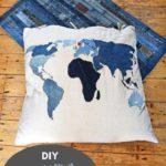 Denim world map pillow