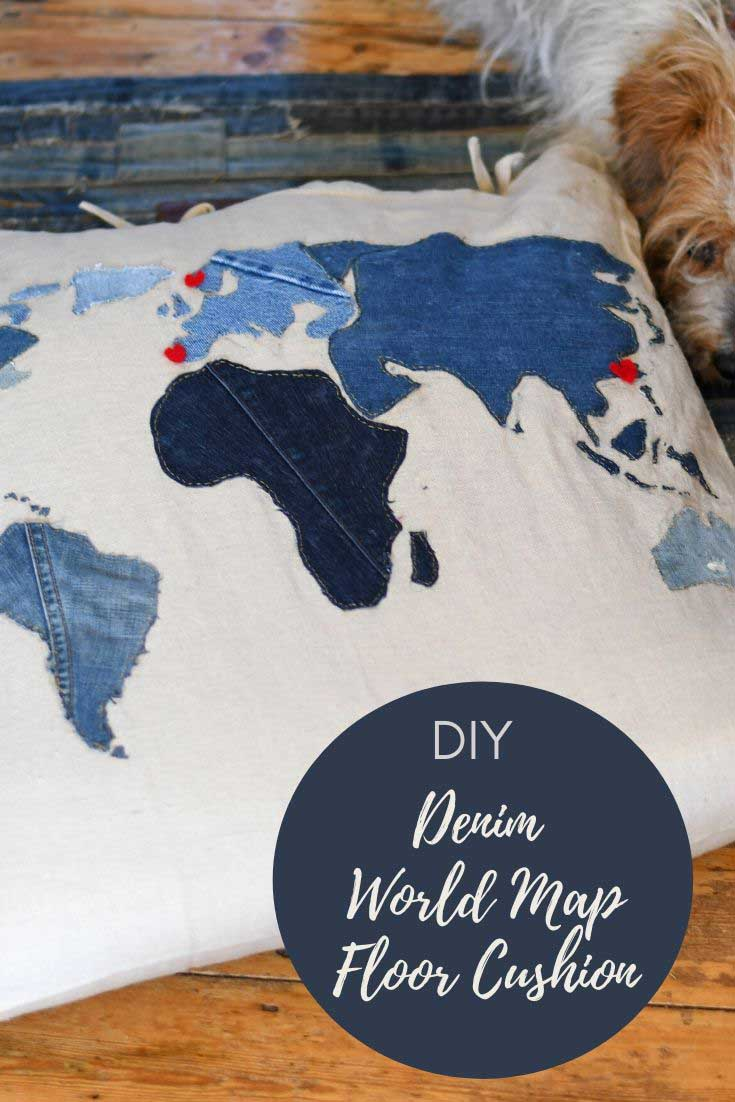 Diy world map cushion from old jeans