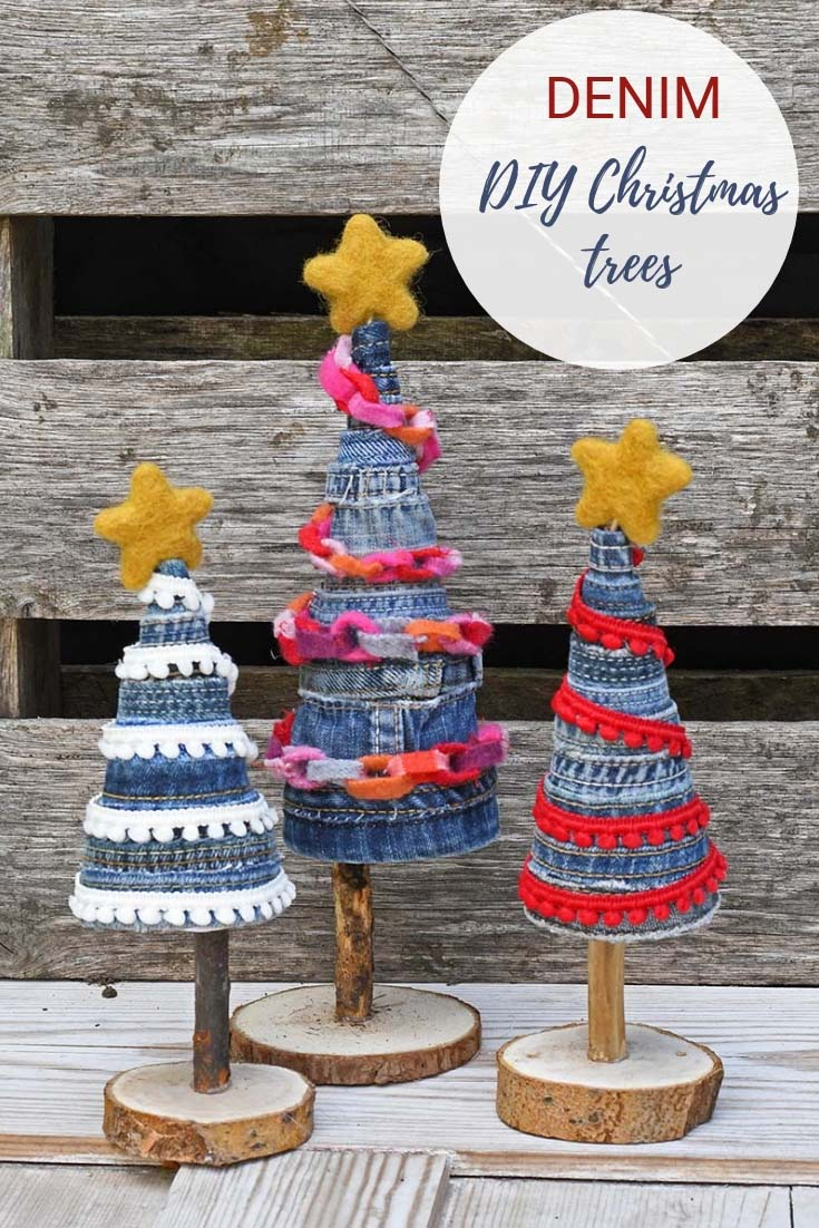 DIY christmas trees from repurposed denim pin