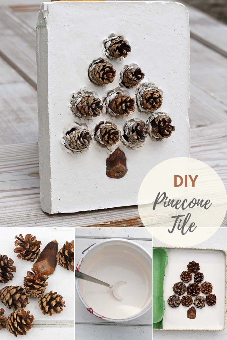 DIY decorated pinecone christmas craft tile