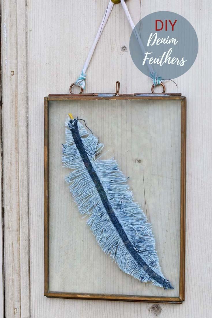 DIY framed denim feather