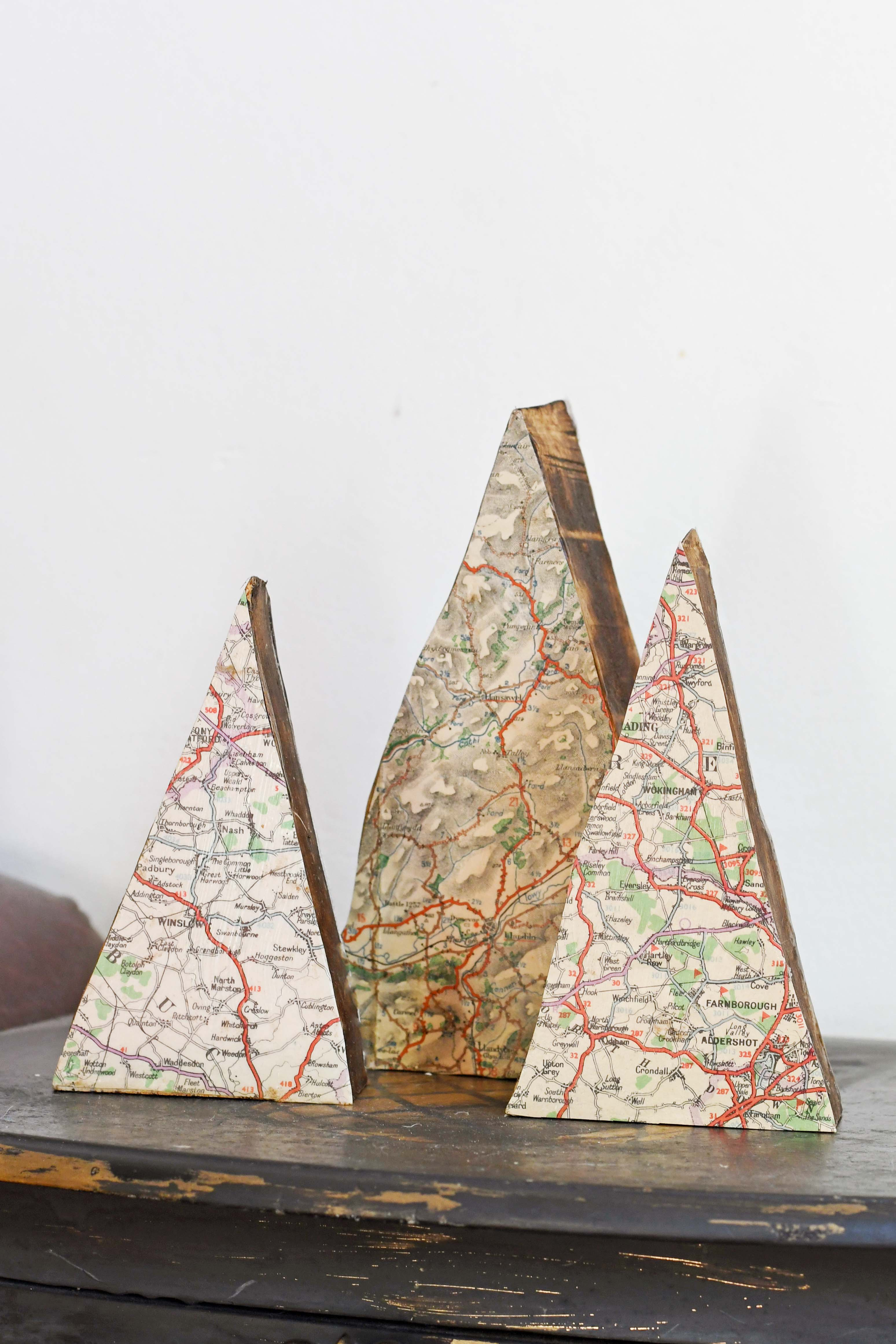 DIY repurposed scrap wood map ornaments