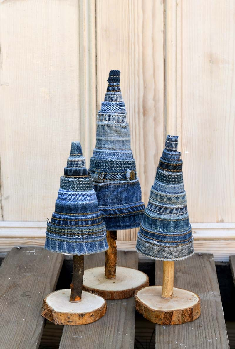 Beautiful repurposed denim DIY Christmas trees