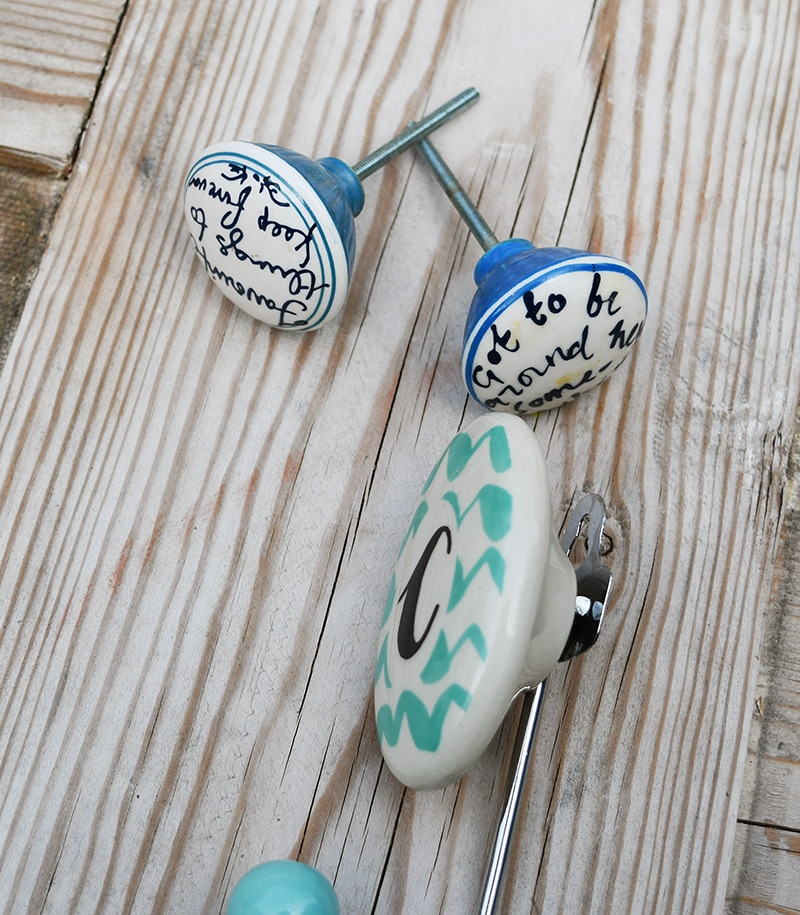 Blue ceramic knobs and hook